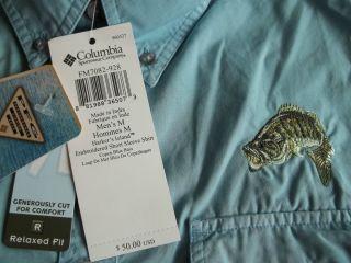 Columbia Sportswear Shirt Copen Blue Bass with Bass logo on front left