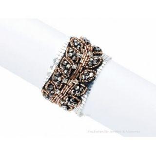 Chain Mail Cuff Bracelet Hematite Crystal Coppertone Beaded New