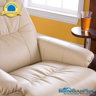Recliner W/ Ottoman Taupe Beige Leather Chair Brianna Design