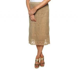 Liz Claiborne New York Sweater Knit Crochet Skirt   A224015