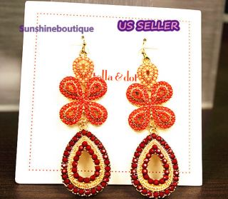 Stella Dot Capri Chandelier Earrings Coral Retail $49 New and Free
