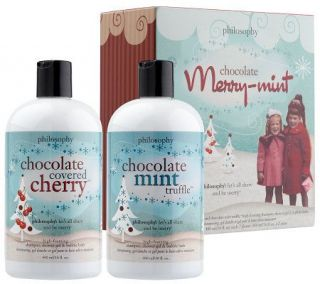 philosophy merry mint chocolate box 3 in 1 shower gel duo, 16 oz