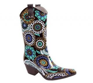 Nomad Yippy Western Style Black and Blue Pinwheel Rain Boots