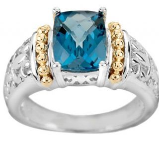 25 ct London Blue Topaz Cushion Cut Two Tone Sterling Ring —