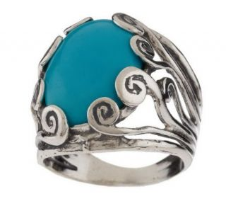 Or Paz Sterling Oval Turquoise Ring —