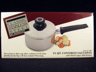 Stainless Steel 1 5 QT COVERED SAUCE PAN Lid Pot 3001 Copper Disc