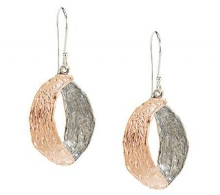 Or Paz Sterling Two tone Textured Dangle Earrings —
