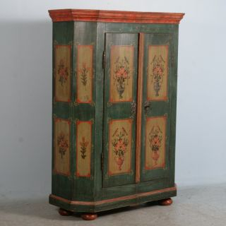 Antique German Hand Painted Armoire Dated 1821 Vases with Florals