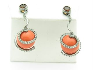 STERLING SILVER UNIQUE RED CORAL STONE CHANDELIER DROP EARRINGS GIFT