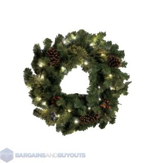 Lighted Indoor Christmas Wreath 24 Battery Operated Clear LED Lights