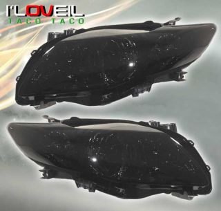 Toyota Corolla 2009 2010 JDM Smoke Black Headlights Lamps Front Le XLE