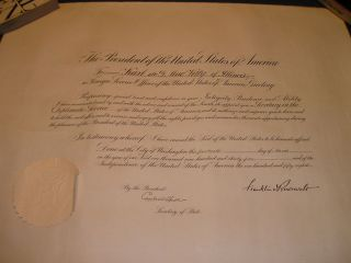 Document Signed Franklin Roosevelt Cordell Hull Diplomatic Service