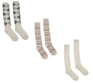 Passione Set of 3 Luxury Cashmere Blend Knee High Socks —