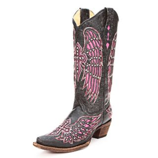 Corral womens A1049 Handcrafted Black Fashion Western Boots with Pink
