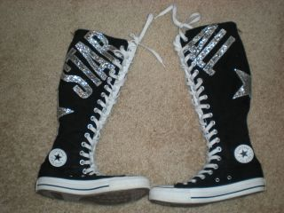 GIRLS Converse Black ALL STAR Silver Glitter XXHI Knee High Tennis