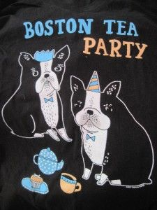 New Boston Tea Party Terriors Dogs Black Junior Girls T Shirt Top Hot