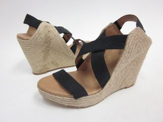 New Corso Como Black Elastic Strap Wedges Sandals Sz 9