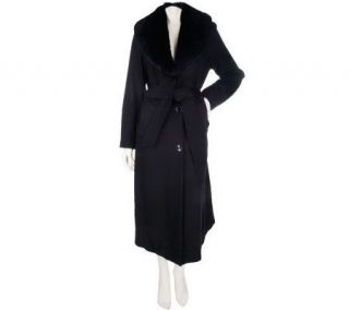 Dennis Basso Full Length Wool Coat with Faux Fur Shawl Collar
