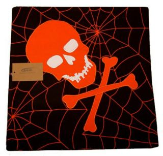 Orange Skull Bones Webs Set of 4 Square Fabric Placemats New