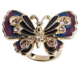 Kenneth Jay Lanes Free Spirited Butterfly Ring —