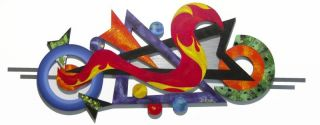 Funky Contemporary Modern Abstract Art Wood Metal Wall Sculpture 57x22