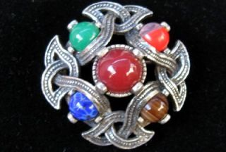 Vtg Miracle Scotish Celtic Knot Art Glass Pin Brooch