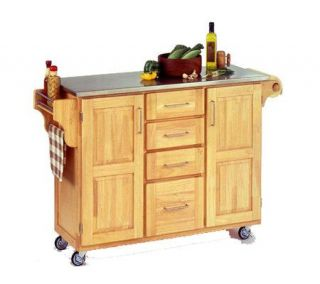 Home Styles Large Create a Cart   Natural w/Stanless Top   H129046