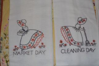 vintage 40s 50s embroidered linens hand dish towels days chores new