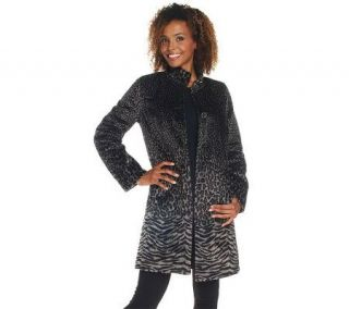 Isaac Mizrahi Live Animal Print Faux Pony Coat —