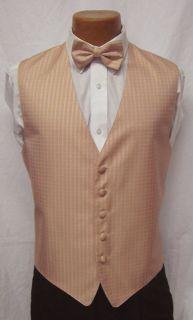 Howard Salmon Light Pink Fullback Vest & Bow Tie Tuxedo Wedding Prom S