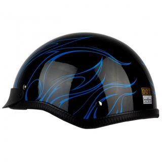 PGR B31 Convict Black Blue Motorcycle Dot Approved Half Helmet Chopper