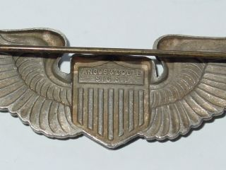 AAC liason pilot wings Angus and Coote stg sil marked 3 inch wings PB