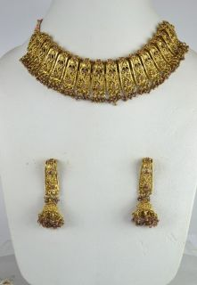 Gold Tone Light Purple Indian Fashion Jewelry Necklace Set Earring