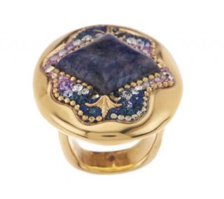 Orit Schatzman 14K Gold Plated Sterling Sodalite Oval Ring —
