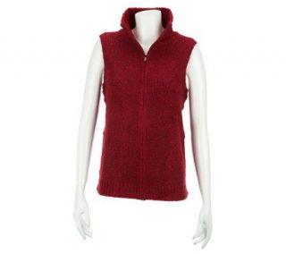 Liz Claiborne New York Zip Front Mock Neck Boucle Vest   A229251