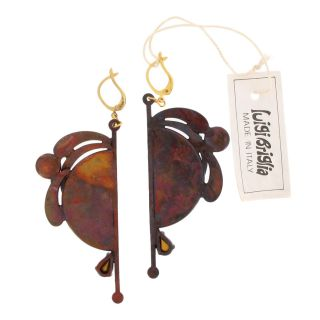 Luigi Briglia Vintage Pierced Earrings Copper Pl Red Mirror Dangle