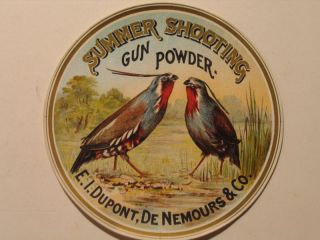 Vintage Summer Shooting Gun Powder Label Dupont 5 1 4 Pre War Upland