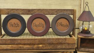 ,Family,Friends Primitive Country Wood Decorative Round Plates 6