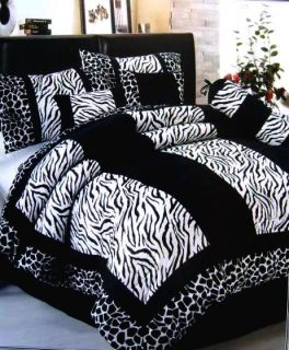 Black White Zebra Giraffe Microfiber Comforter Set King