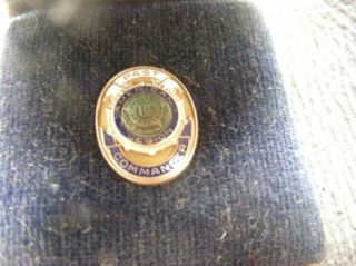 Gold U s American Legion Past Commander Pin with Leather Case
