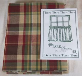 Red Green Brown Tan Plaid Unlined Highland Ridge Tier Curtains 72x24