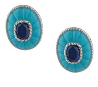 As Is Judith Ripka Sterling Turquoise Inlay Earrings —