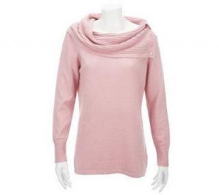 Liz Claiborne New York Cowl Neck Sweater w/Button Detail   A228056