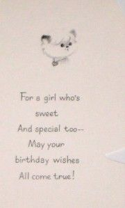 UNUSED VINTAGE COUTTS HALLMARK BIRTHDAY CARD + ENVELOPE GIRL JUST FOR