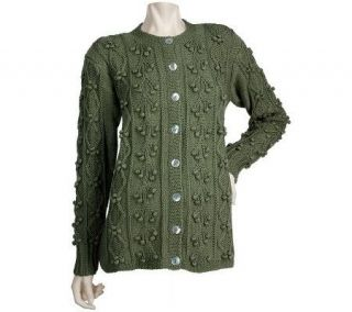 Deirdre McGuire Hand Knit Pima Cotton Cardigan with Shell Buttons