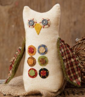 Primitive Country Folk Art Owl Fabric Stuffed Doll Penny Charms Cream