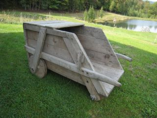 ANTIQUE VTG WHEELBARROW GARDEN FLOWER APPLE CART STORE SHOP DISPLAY
