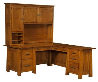 Amish Corner Computer Desk L Shaped Mission Solid Wood Wooden Office