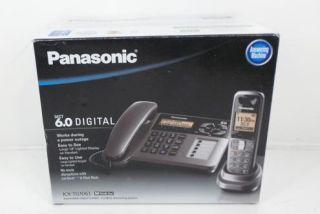 kx tg1061m cordless corded phone with answering machine metallic grey
