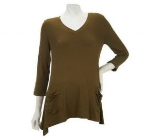 LOGO by Lori Goldstein V neck Tee with 3/4 Sleeves and Pocket Detail